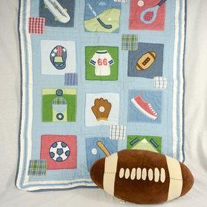 Pottery Barn Kids Sport Quilt and Football Pillow